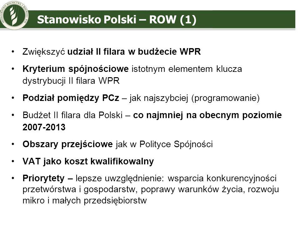 Stanowisko Polski – ROW (2) Programowanie – więcej elastyczności i rozszerzenie tworzenia podprogramów z wyższym finansowaniem Działania – pozorne uproszczenie, zbyt duży akcent na tzw.