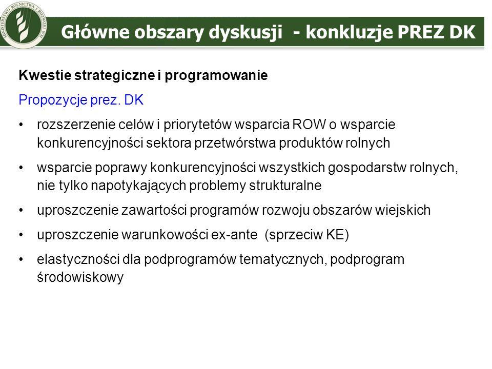 Główne obszary dyskusji - konkluzje PREZ DK Wybrane kwestie dotyczące działań EFRROW propozycje prez.