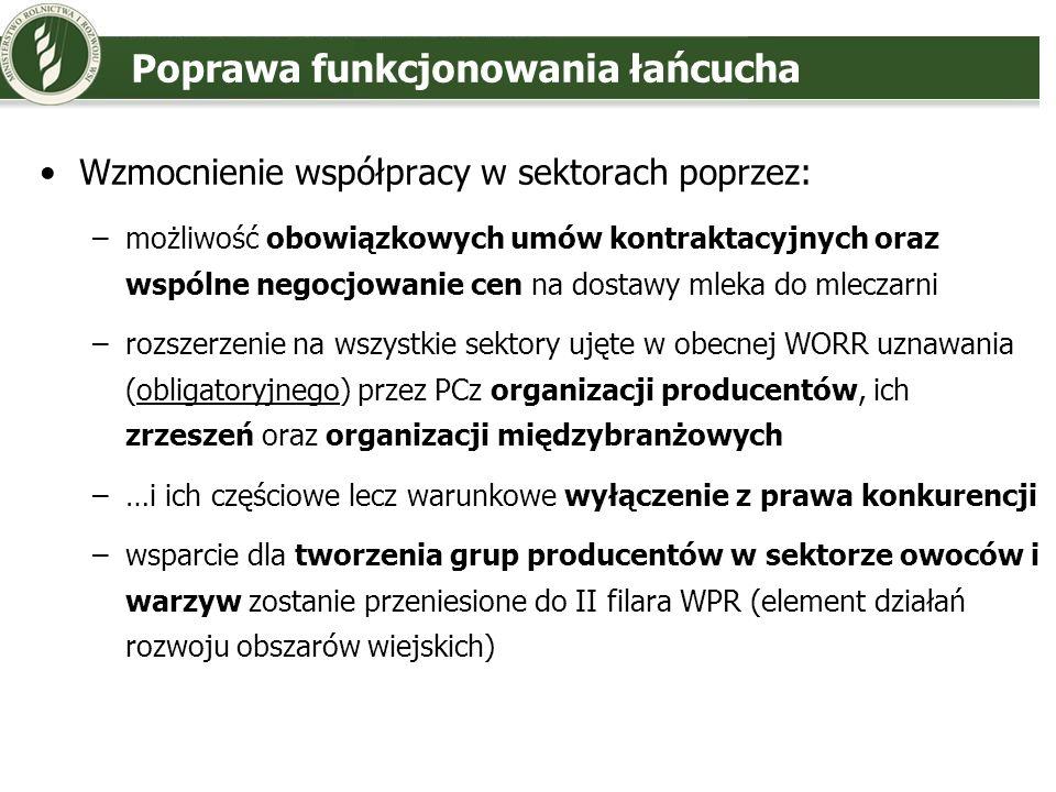 Zarządzanie kryzysami i ryzykiem Ogólna klauzula kryzysowa (modyfikacja intrumentów, cła), rozszerzona na wszystkie sektory ujęte w obecnej WORR Mechanizm wsparcia rynku związany z wystąpieniem chorób zwierzęcych dla: wołowiny i cielęciny, mleka i jego produktów, wieprzowiny, baraniny i mięsa koziego, jaj, mięsa drobiowego Mechanizm wsparcia związany z utratą zaufania konsumentów również dla pozostałych produktów objętych WORR Wsparcie instrumentów zarządzania ryzykiem (ubezpieczenia fundusze wzajemnej gwarancji i nowy instrument stabilizacji dochodów) – w II filarze