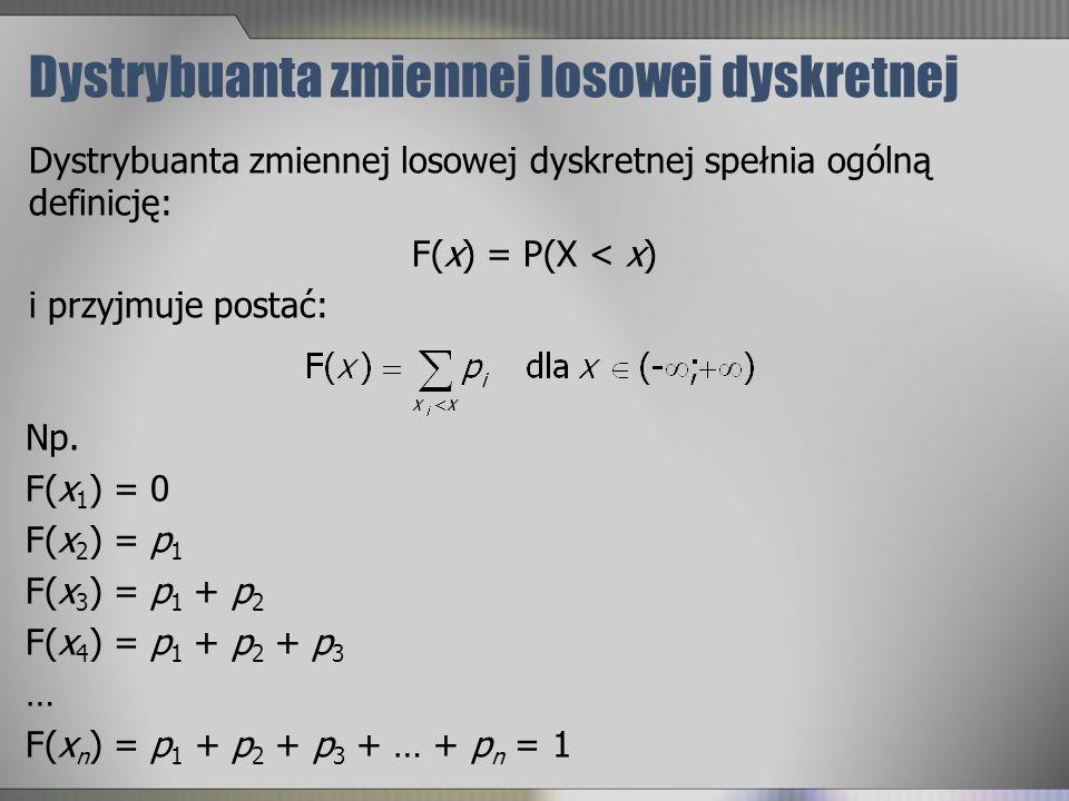 Dystrybuanta zmiennej losowej dyskretnej Dystrybuanta zmiennej losowej dyskretnej spełnia ogólną definicję: F(x) = P(X < x) i przyjmuje postać: Np. F(