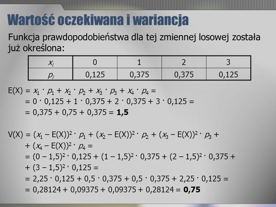 Wartość oczekiwana i wariancja xixi 0123 pipi 0,1250,375 0,125 Funkcja prawdopodobieństwa dla tej zmiennej losowej została już określona: E(X) = x 1 ·