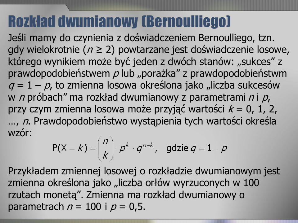 Rozkład dwumianowy (Bernoulliego) Jeśli mamy do czynienia z doświadczeniem Bernoulliego, tzn. gdy wielokrotnie (n 2) powtarzane jest doświadczenie los