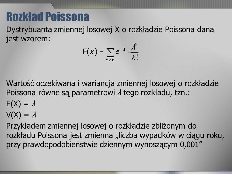 Rozkład Poissona Dystrybuanta zmiennej losowej X o rozkładzie Poissona dana jest wzorem: Wartość oczekiwana i wariancja zmiennej losowej o rozkładzie