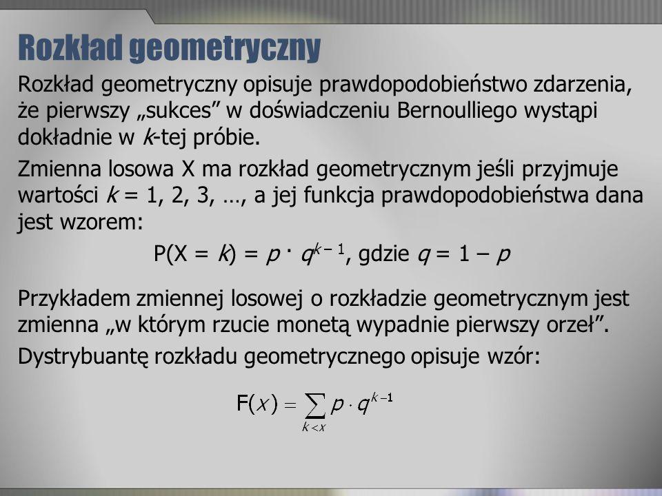 Rozkład geometryczny Rozkład geometryczny opisuje prawdopodobieństwo zdarzenia, że pierwszy sukces w doświadczeniu Bernoulliego wystąpi dokładnie w k-