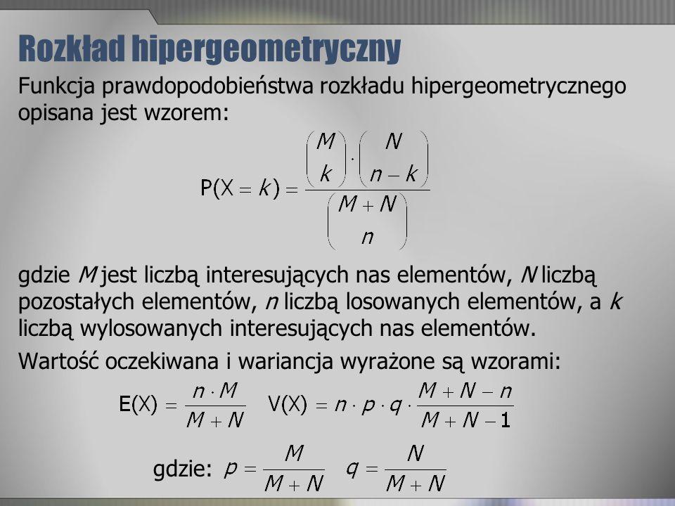 Rozkład hipergeometryczny Funkcja prawdopodobieństwa rozkładu hipergeometrycznego opisana jest wzorem: gdzie M jest liczbą interesujących nas elementó