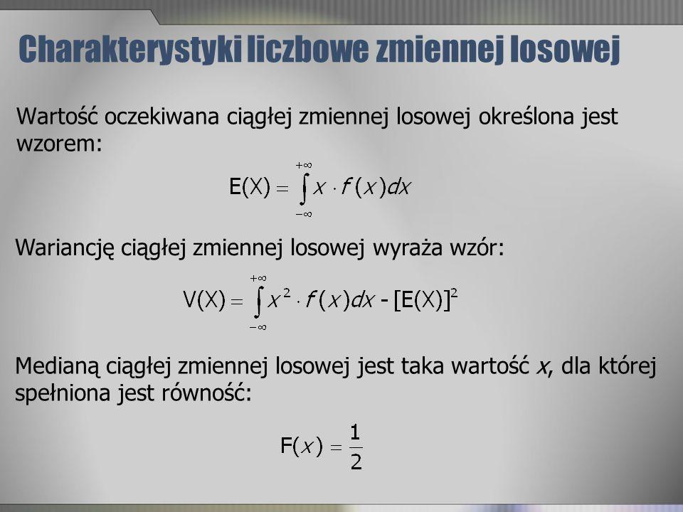 Charakterystyki liczbowe zmiennej losowej Wartość oczekiwana ciągłej zmiennej losowej określona jest wzorem: Wariancję ciągłej zmiennej losowej wyraża