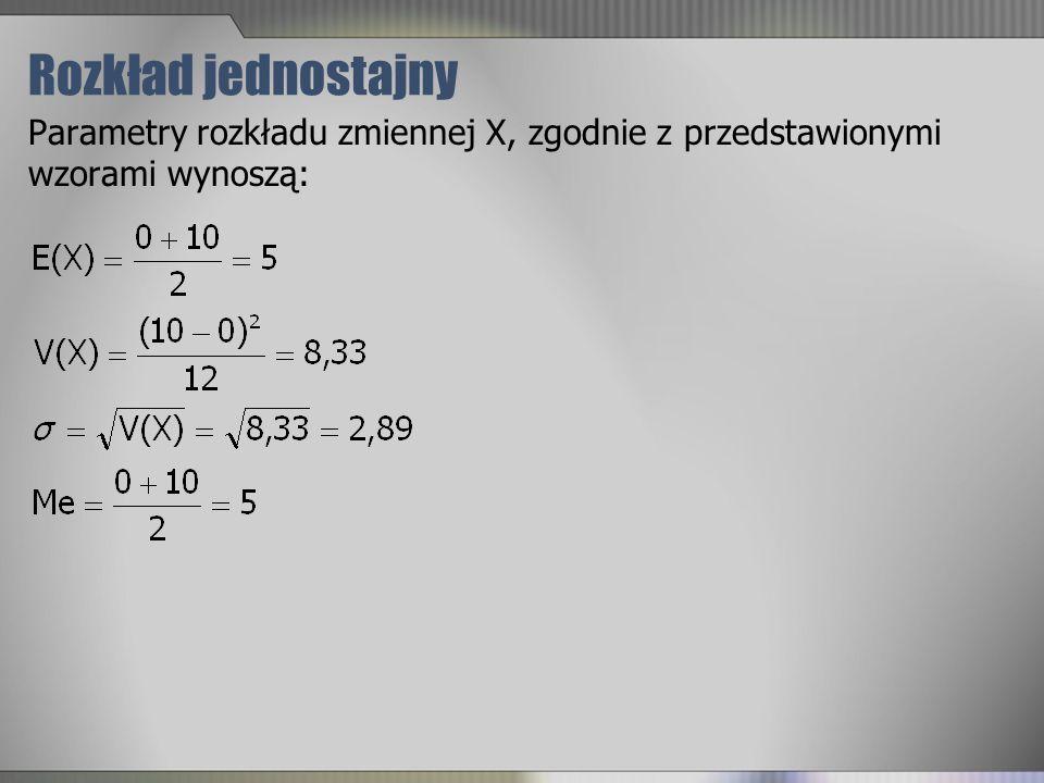 Rozkład jednostajny Parametry rozkładu zmiennej X, zgodnie z przedstawionymi wzorami wynoszą: