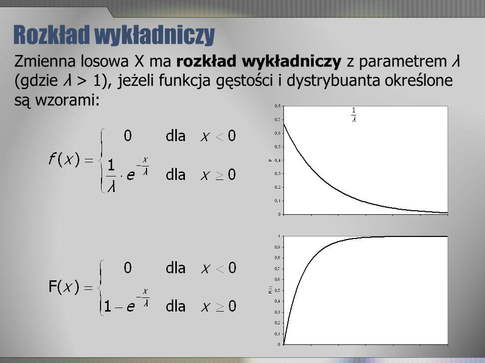 Rozkład wykładniczy Zmienna losowa X ma rozkład wykładniczy z parametrem λ (gdzie λ > 1), jeżeli funkcja gęstości i dystrybuanta określone są wzorami: