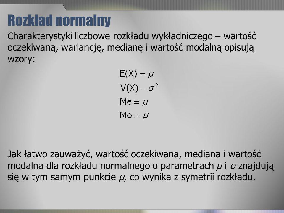 Rozkład normalny Charakterystyki liczbowe rozkładu wykładniczego – wartość oczekiwaną, wariancję, medianę i wartość modalną opisują wzory: Jak łatwo z