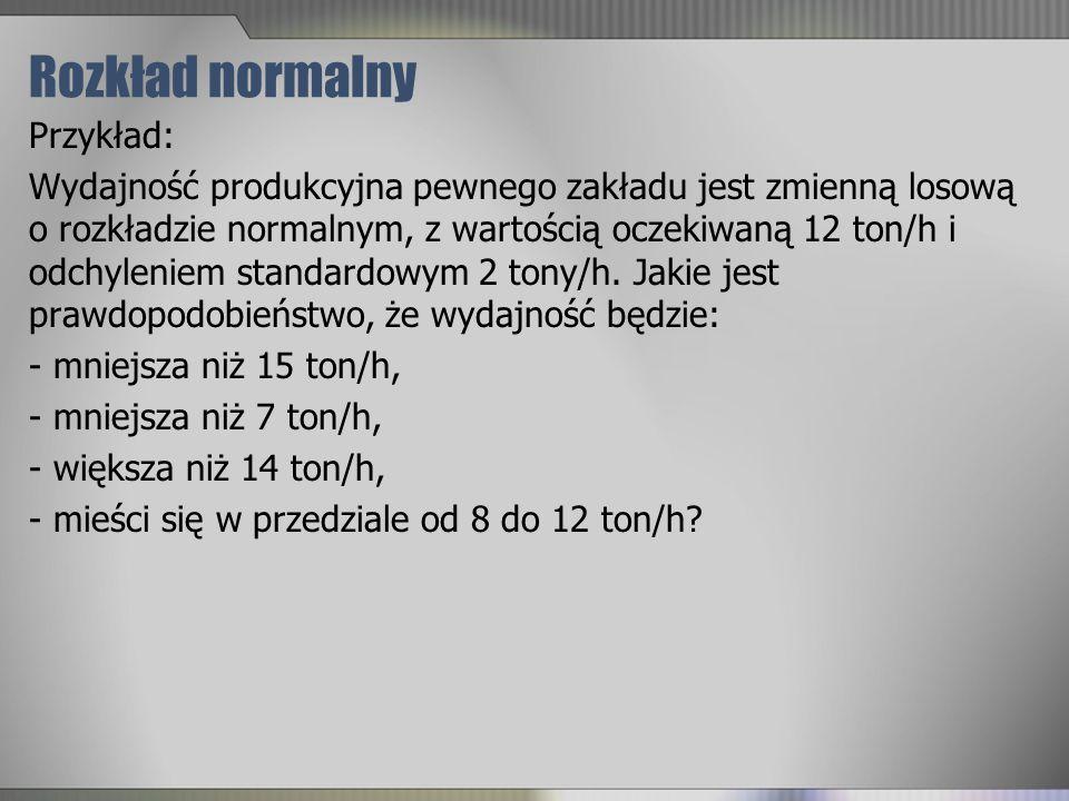 Rozkład normalny Przykład: Wydajność produkcyjna pewnego zakładu jest zmienną losową o rozkładzie normalnym, z wartością oczekiwaną 12 ton/h i odchyle