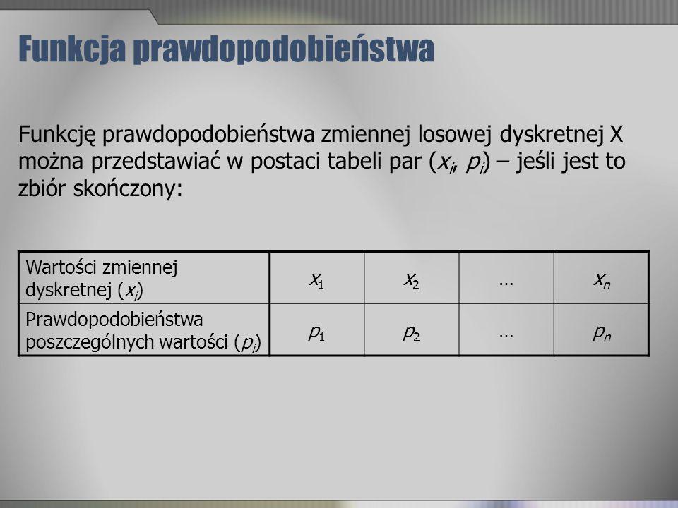Funkcja prawdopodobieństwa Funkcję prawdopodobieństwa zmiennej losowej dyskretnej X można przedstawiać w postaci tabeli par (x i, p i ) – jeśli jest t