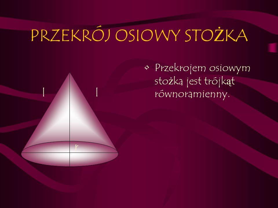 PRZEKRÓJ OSIOWY STO Ż KA Przekrojem osiowym sto ż ka jest trójk ą t równoramienny. r ll