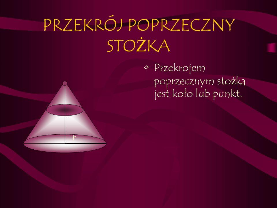 PRZEKRÓJ POPRZECZNY STO Ż KA Przekrojem poprzecznym sto ż ka jest koło lub punkt. r