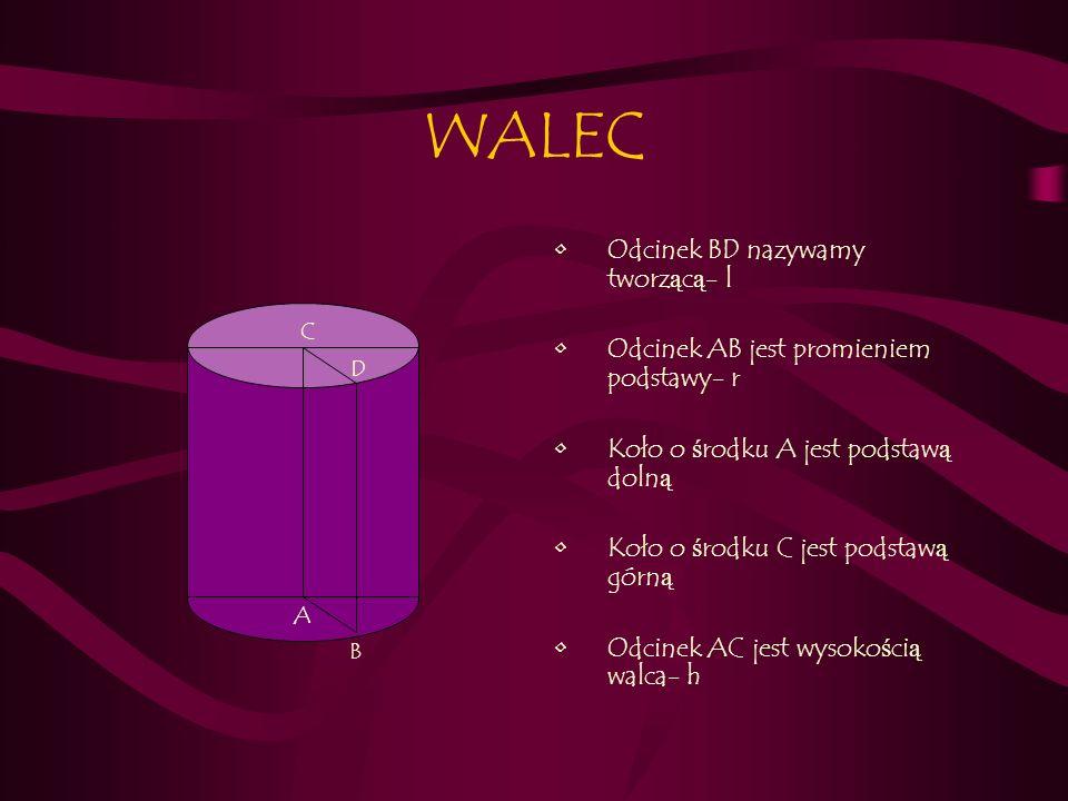 WALEC-WZORY Pole powierzchni całkowitej: P c = 2π r (r+h) Pole powierzchni bocznej: P b = 2πrh Obj ę to ść walca: V= πr 2 h