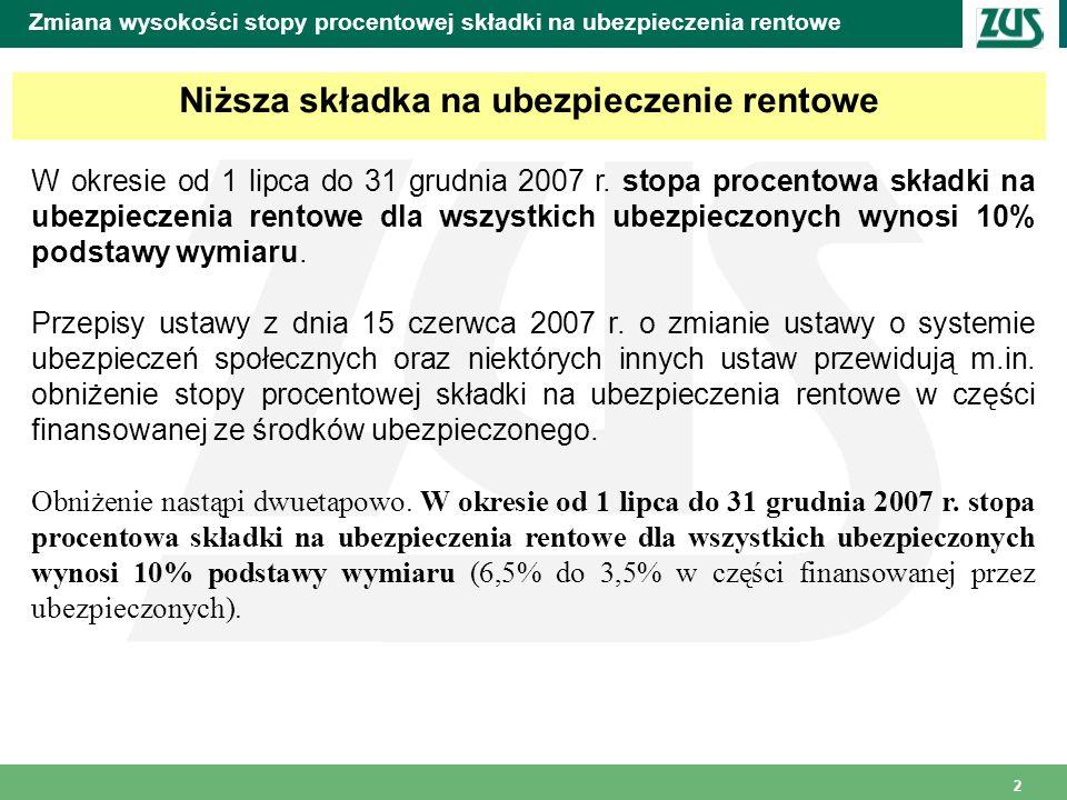 2 Zmiana wysokości stopy procentowej składki na ubezpieczenia rentowe Niższa składka na ubezpieczenie rentowe W okresie od 1 lipca do 31 grudnia 2007 r.