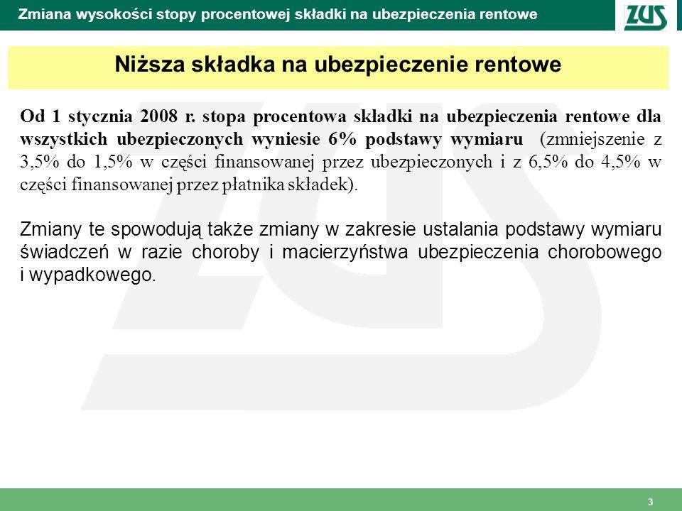 3 Zmiana wysokości stopy procentowej składki na ubezpieczenia rentowe Niższa składka na ubezpieczenie rentowe Od 1 stycznia 2008 r.