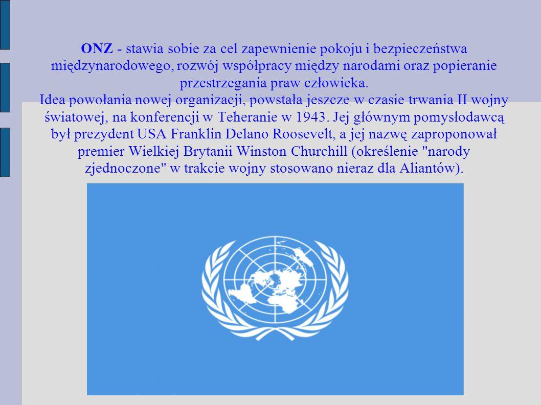ONZ - stawia sobie za cel zapewnienie pokoju i bezpiecze ństwa międzynarodowego, rozwój współpracy między narodami oraz popieranie przestrzegania praw