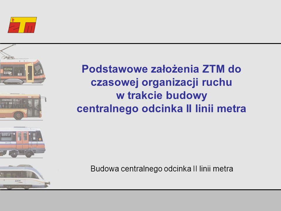 Podstawowe założenia ZTM do czasowej organizacji ruchu w trakcie budowy centralnego odcinka II linii metra Budowa centralnego odcinka II linii metra