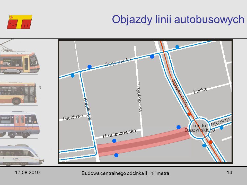 17.08.2010 Budowa centralnego odcinka II linii metra 14 Objazdy linii autobusowych