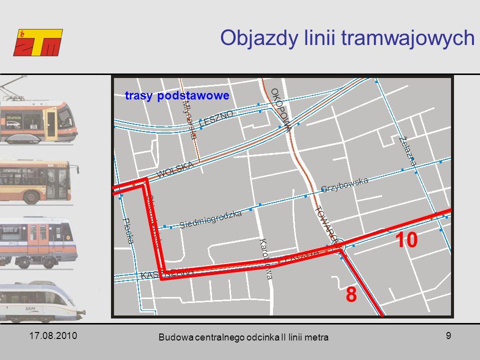 17.08.2010 Budowa centralnego odcinka II linii metra 9 Objazdy linii tramwajowych 8 10 trasy podstawowe