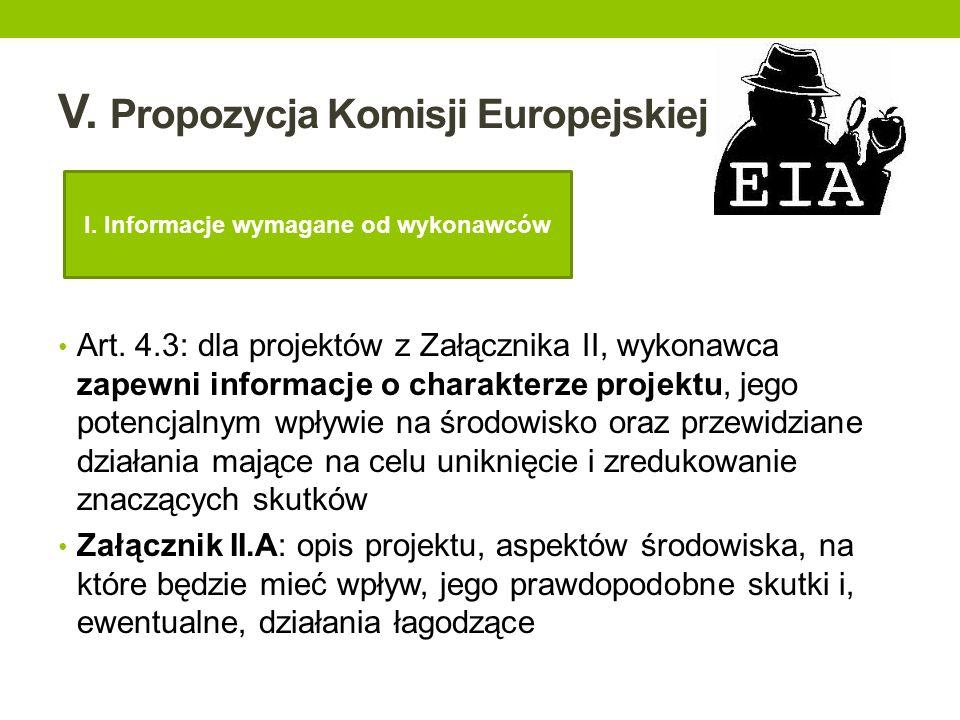 V. Propozycja Komisji Europejskiej Art. 4.3: dla projektów z Załącznika II, wykonawca zapewni informacje o charakterze projektu, jego potencjalnym wpł