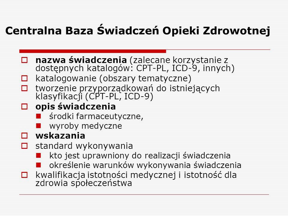 Centralna Baza Świadczeń Opieki Zdrowotnej nazwa świadczenia (zalecane korzystanie z dostępnych katalogów: CPT-PL, ICD-9, innych) katalogowanie (obsza