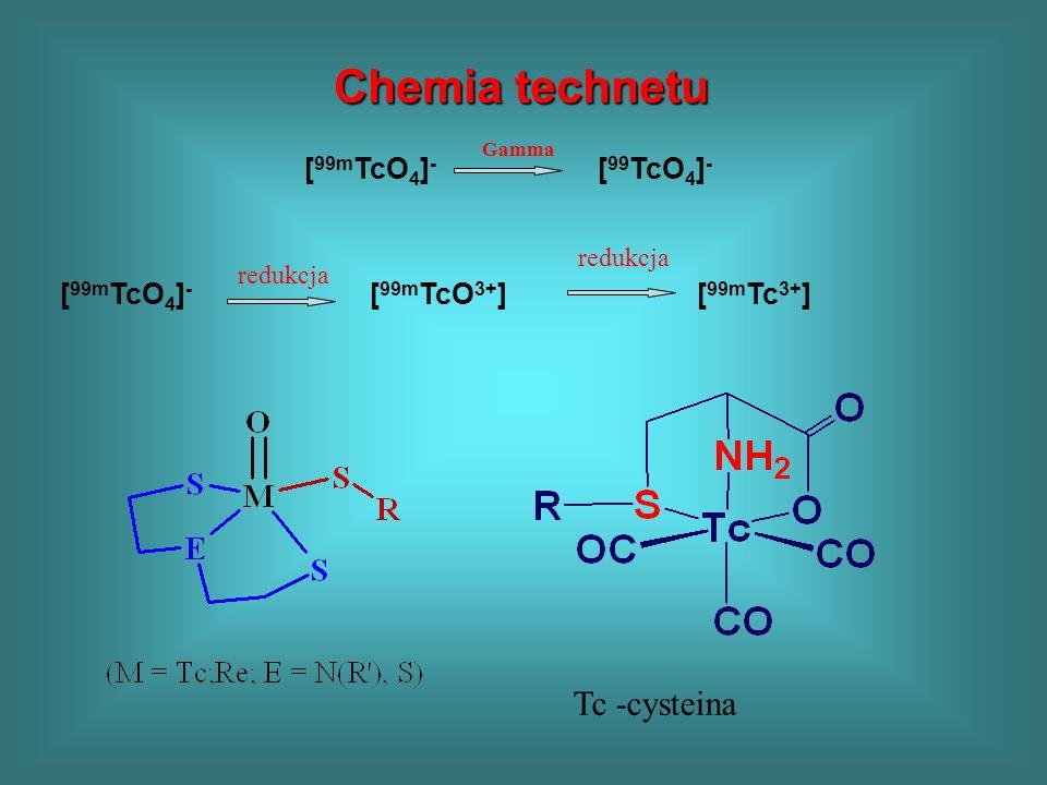 Chemia technetu Chemia technetu [ 99m TcO 4 ] - [ 99 TcO 4 ] - Gamma [ 99m TcO 4 ] - [ 99m TcO 3+ ] redukcja [ 99m Tc 3+ ] redukcja Tc -cysteina