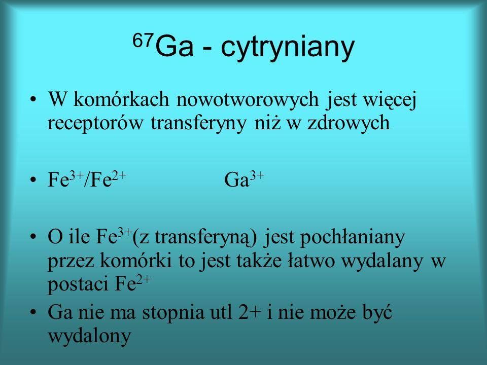 67 Ga - cytryniany W komórkach nowotworowych jest więcej receptorów transferyny niż w zdrowych Fe 3+ /Fe 2+ Ga 3+ O ile Fe 3+ (z transferyną) jest pochłaniany przez komórki to jest także łatwo wydalany w postaci Fe 2+ Ga nie ma stopnia utl 2+ i nie może być wydalony