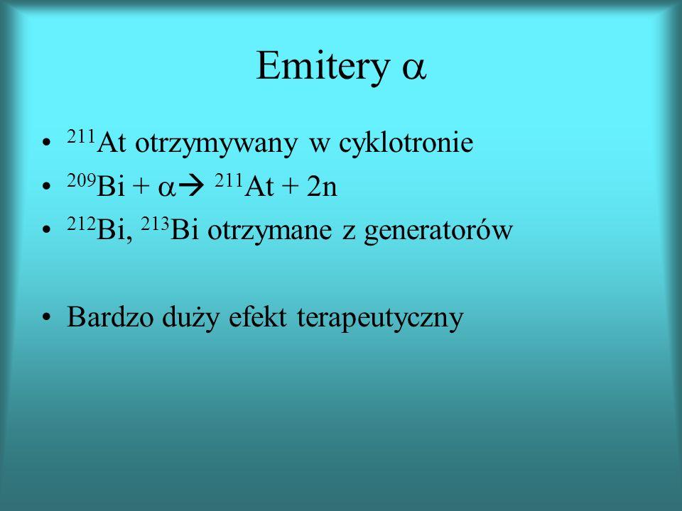 Emitery 211 At otrzymywany w cyklotronie 209 Bi + 211 At + 2n 212 Bi, 213 Bi otrzymane z generatorów Bardzo duży efekt terapeutyczny