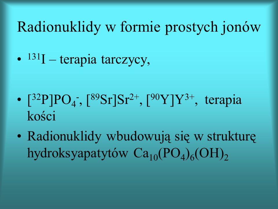 Radionuklidy w formie prostych jonów 131 I – terapia tarczycy, [ 32 P]PO 4 -, [ 89 Sr]Sr 2+, [ 90 Y]Y 3+, terapia kości Radionuklidy wbudowują się w strukturę hydroksyapatytów Ca 10 (PO 4 ) 6 (OH) 2
