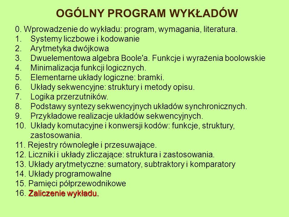 OGÓLNY PROGRAM WYKŁADÓW 0. Wprowadzenie do wykładu: program, wymagania, literatura. 1.Systemy liczbowe i kodowanie 2.Arytmetyka dwójkowa 3.Dwuelemento
