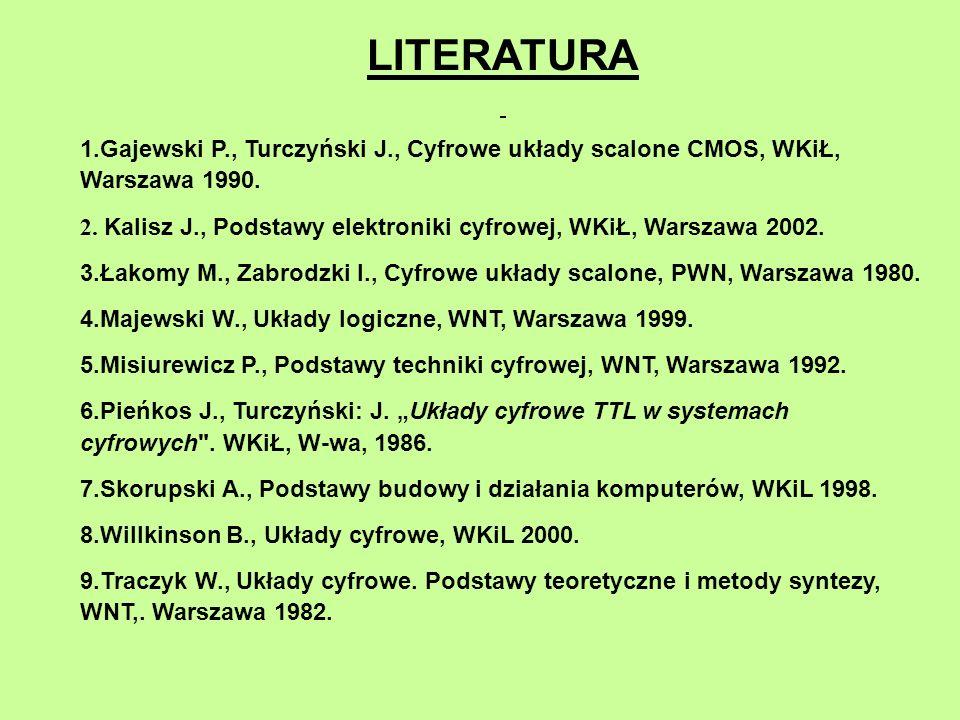 LITERATURA 1.Gajewski P., Turczyński J., Cyfrowe układy scalone CMOS, WKiŁ, Warszawa 1990. 2. Kalisz J., Podstawy elektroniki cyfrowej, WKiŁ, Warszawa