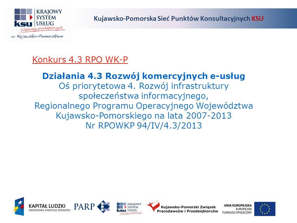 Kujawsko-Pomorska Sieć Punktów Konsultacyjnych KSU Działania 4.3 Rozwój komercyjnych e-usług Oś priorytetowa 4.