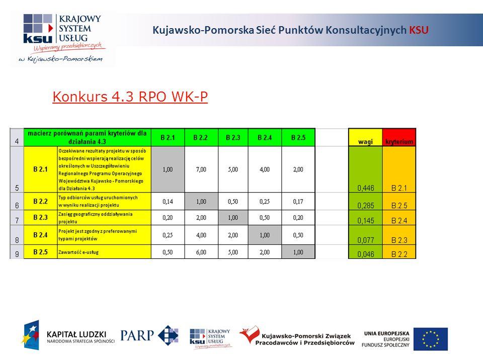 Kujawsko-Pomorska Sieć Punktów Konsultacyjnych KSU Konkurs 4.3 RPO WK-P