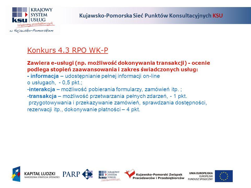 Kujawsko-Pomorska Sieć Punktów Konsultacyjnych KSU Konkurs 4.3 RPO WK-P Zawiera e-usługi (np.