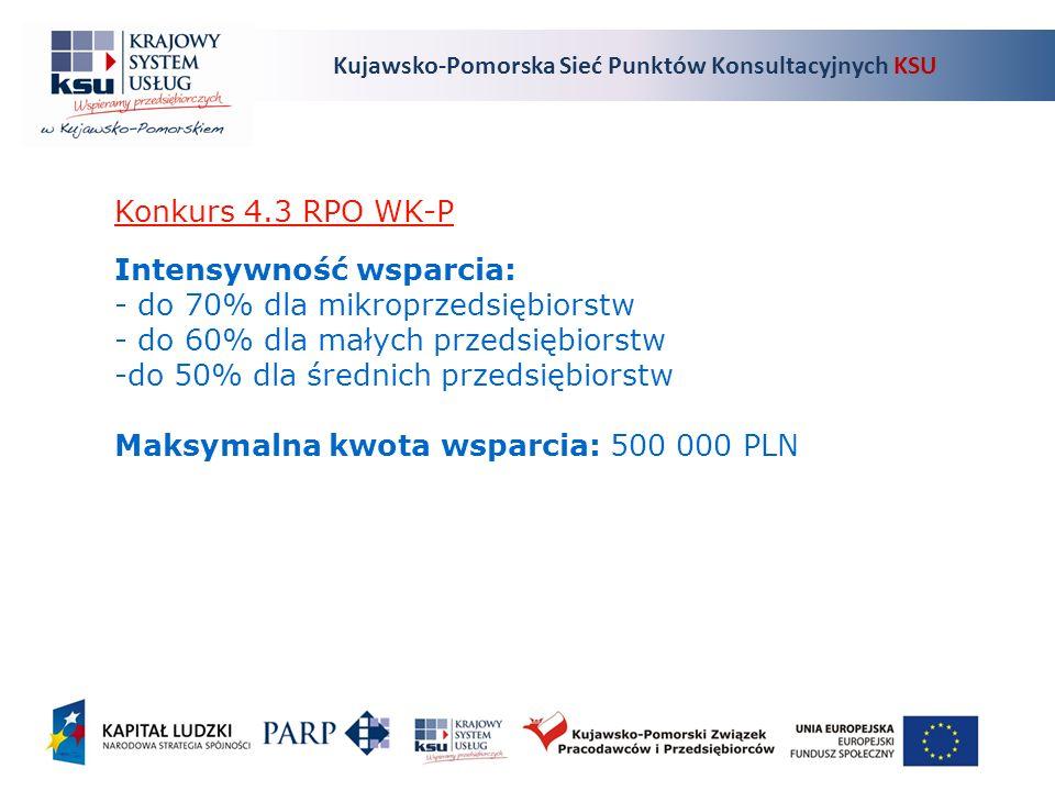 Kujawsko-Pomorska Sieć Punktów Konsultacyjnych KSU Konkurs 4.3 RPO WK-P Intensywność wsparcia: - do 70% dla mikroprzedsiębiorstw - do 60% dla małych przedsiębiorstw -do 50% dla średnich przedsiębiorstw Maksymalna kwota wsparcia: 500 000 PLN