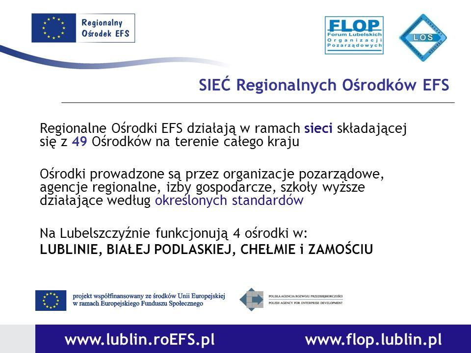 SIEĆ Regionalnych Ośrodków EFS Regionalne Ośrodki EFS działają w ramach sieci składającej się z 49 Ośrodków na terenie całego kraju Ośrodki prowadzone