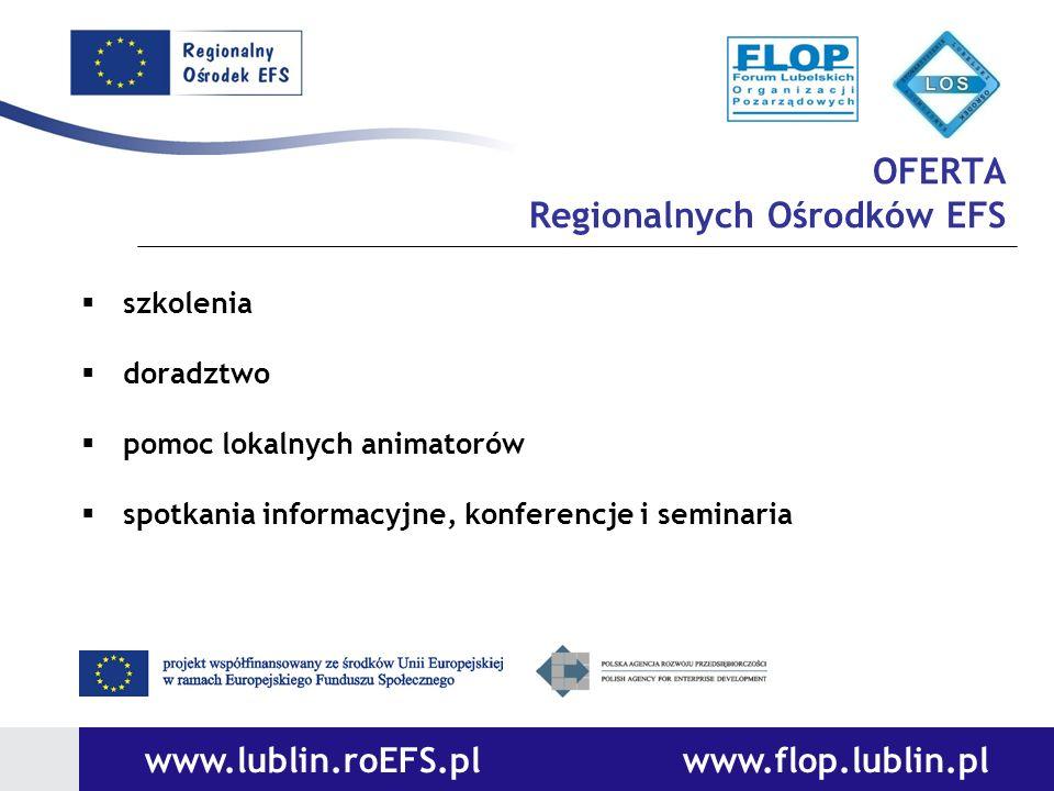 OFERTA Regionalnych Ośrodków EFS szkolenia doradztwo pomoc lokalnych animatorów spotkania informacyjne, konferencje i seminaria www.lublin.roEFS.pl ww