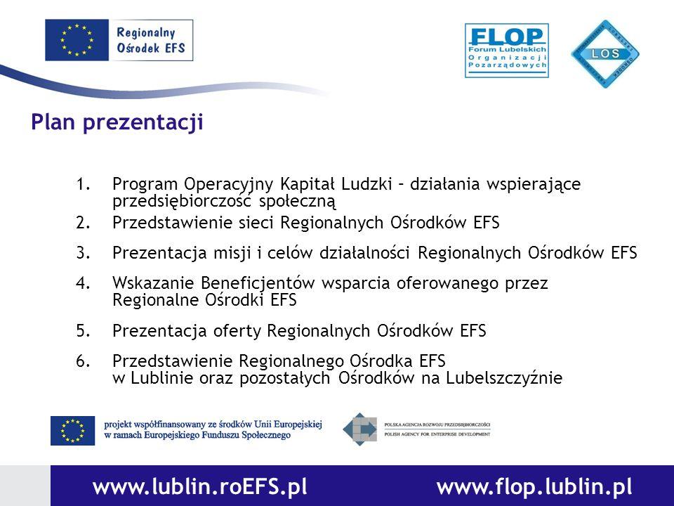 1.Program Operacyjny Kapitał Ludzki – działania wspierające przedsiębiorczość społeczną 2.Przedstawienie sieci Regionalnych Ośrodków EFS 3.Prezentacja