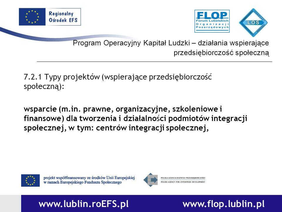 Program Operacyjny Kapitał Ludzki – działania wspierające przedsiębiorczość społeczną 7.2.1 Typy projektów (wspierające przedsiębiorczość społeczną):