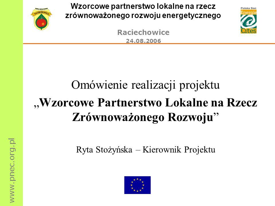 www.pnec.org.pl Wzorcowe partnerstwo lokalne na rzecz zrównoważonego rozwoju energetycznego Raciechowice 24.08.2006 Omówienie realizacji projektu Wzor