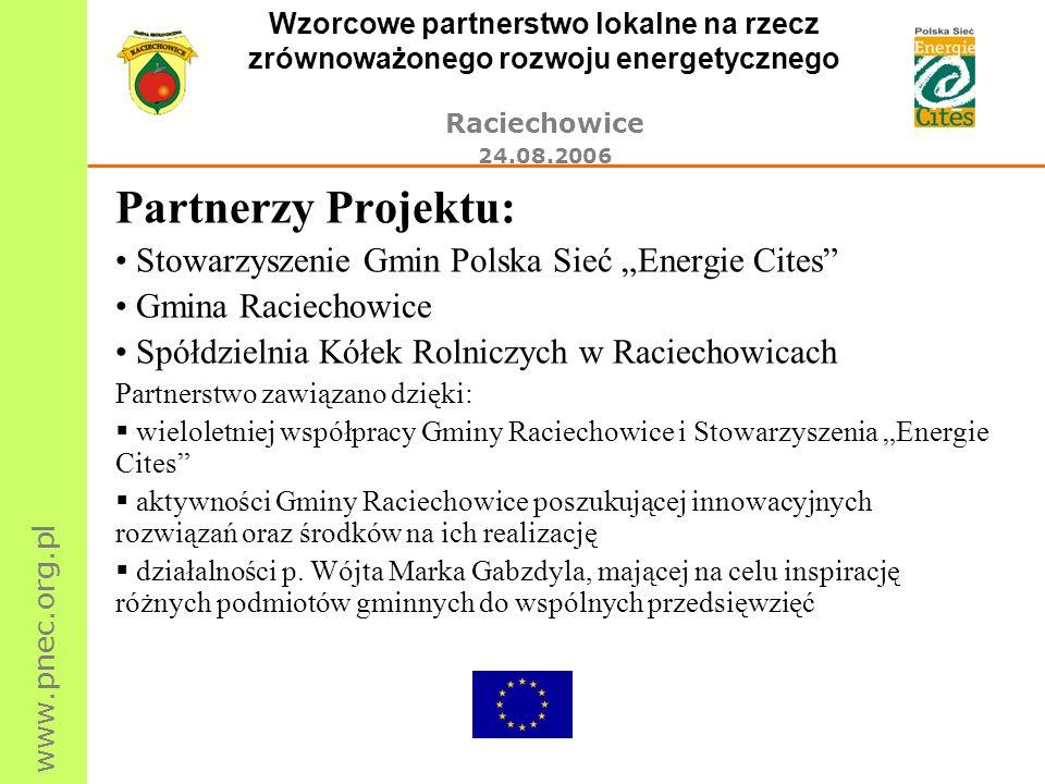 www.pnec.org.pl Wzorcowe partnerstwo lokalne na rzecz zrównoważonego rozwoju energetycznego Raciechowice 24.08.2006 Partnerzy Projektu: Stowarzyszenie