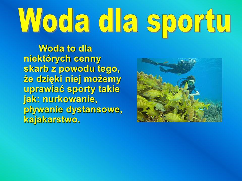 Woda to dla niektórych cenny skarb z powodu tego, że dzięki niej możemy uprawiać sporty takie jak: nurkowanie, pływanie dystansowe, kajakarstwo.