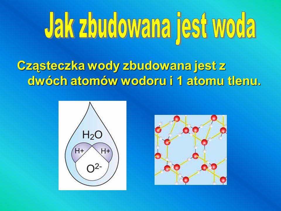 Cząsteczka wody zbudowana jest z dwóch atomów wodoru i 1 atomu tlenu.