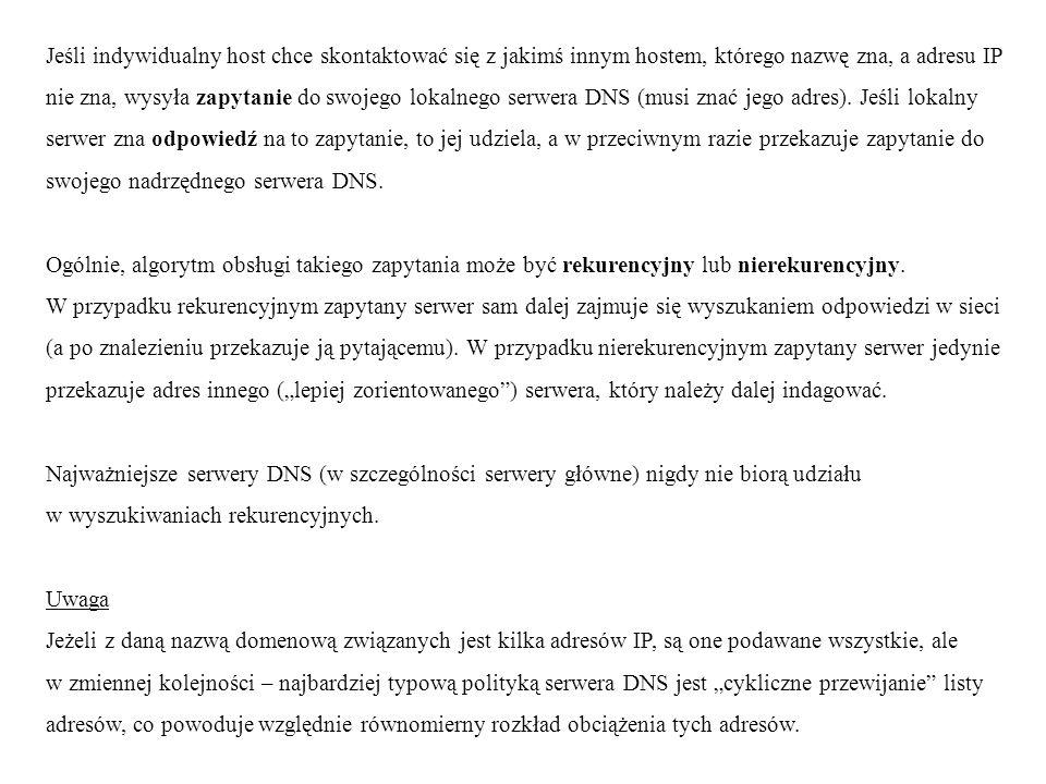 Rozproszona baza danych usługi DNS przechowuje w poszczególnych serwerach zbiory rekordów zasobów (resource records), które zawierają rozmaite informacje dotyczące różnych domen.