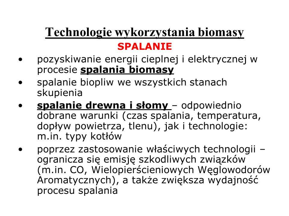 Technologie wykorzystania biomasy SPALANIE pozyskiwanie energii cieplnej i elektrycznej w procesie spalania biomasy spalanie biopliw we wszystkich sta