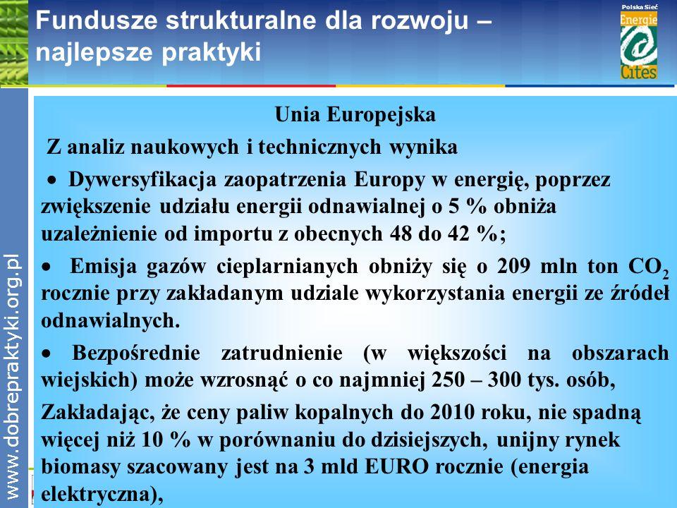 www.pnec.org.pl Polska Sieć www.dobrepraktyki.org.pl Fundusze strukturalne dla rozwoju – najlepsze praktyki Unia Europejska Z analiz naukowych i techn