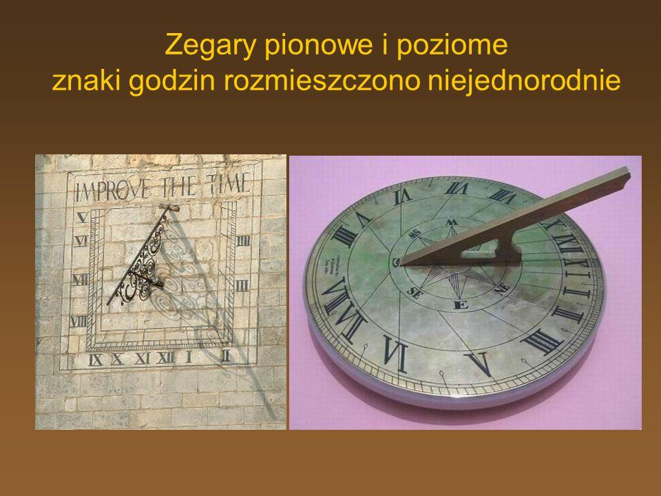 Zegary pionowe i poziome znaki godzin rozmieszczono niejednorodnie