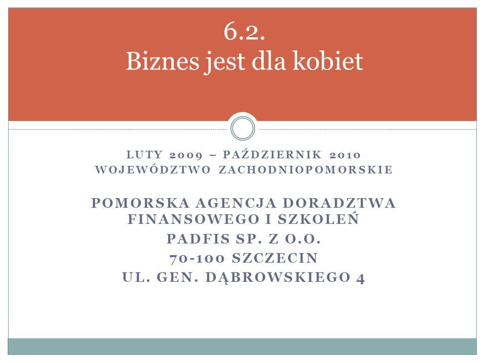 LUTY 2009 – PAŹDZIERNIK 2010 WOJEWÓDZTWO ZACHODNIOPOMORSKIE POMORSKA AGENCJA DORADZTWA FINANSOWEGO I SZKOLEŃ PADFIS SP.