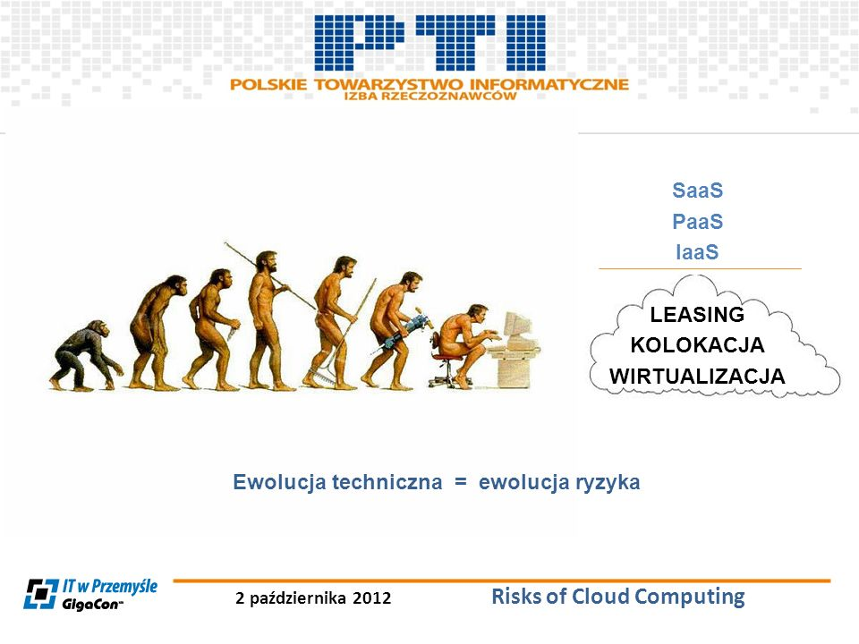 2 października 2012 Risks of Cloud Computing SaaS PaaS IaaS LEASING KOLOKACJA WIRTUALIZACJA Ewolucja techniczna = ewolucja ryzyka